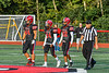 Baldwinsville Bees Captains Daniel Ewald (44), Samuel Mellinger (24) and Amir Akins (22) walk out for the Coint Toss against the Cicero-North Syracuse Northstars in Section III Football action at the Pelcher-Arcaro Stadium in Baldwinsville, New York on Friday, September 24, 2021.