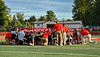 Baldwinsville Bees huddle up before playing against the Cicero-North Syracuse Northstars in a Section III Football game at the Pelcher-Arcaro Stadium in Baldwinsville, New York on Friday, September 24, 2021.