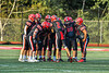 Baldwinsville Bees Quarterback Caden Cox (2) calling a play in the huddle against the Cicero-North Syracuse Northstars in Section III Football action at the Pelcher-Arcaro Stadium in Baldwinsville, New York on Friday, September 24, 2021. Cicero-North Syracuse won 40-7.
