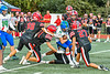Baldwinsville Bees defense closes in on Cicero-North Syracuse Northstars ball carrier Mason Ellis (14) in Section III Football action at the Pelcher-Arcaro Stadium in Baldwinsville, New York on Friday, September 24, 2021. Cicero-North Syracuse won 40-7.