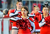 Baldwinsville Bees Cheerleader during the National Anthem a in Section III Football game at the Pelcher-Arcaro Stadium in Baldwinsville, New York on Friday, September 24, 2021.