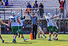Referee signalling a touchdown by Fayetteville-Manlius Hornets against the West Genesee Wildcats in Section III Football action at Mike Messere Field in Camillus, New York on Saturday, April 3, 2021. West Genesee won in OT 38-32.