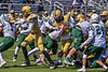 West Genesee Wildcats Quarterback Braeden McNeill (18) scores a touchdown against the Fayetteville-Manlius Hornets in Section III Football action at Mike Messere Field in Camillus, New York on Saturday, April 3, 2021. West Genesee won in OT 38-32.