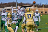 West Genesee Wildcats Hail Mary pass attempt is knocked awy by Fayetteville-Manlius Hornets defenders in Section III Football action at Mike Messere Field in Camillus, New York on Saturday, April 3, 2021. West Genesee won in OT 38-32.