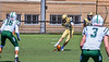 West Genesee Wildcats Scott Fura Jr (75) kicks off to the Fayetteville-Manlius Hornets in Section III Football action at Mike Messere Field in Camillus, New York on Saturday, April 3, 2021. West Genesee won in OT 38-32.