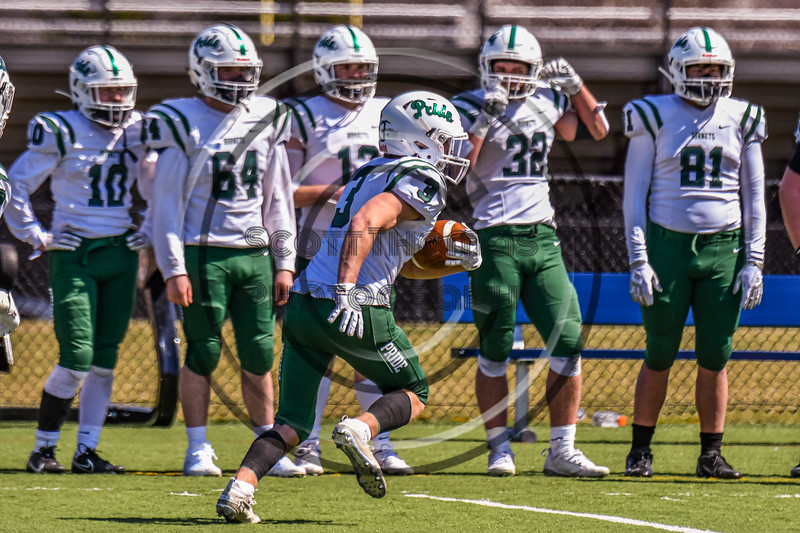 Fayetteville-Manlius Hornets Connor Aspinall (3) running with the ball against after a West Genesee Wildcats kickoff in Section III Football action at Mike Messere Field in Camillus, New York on Saturday, April 3, 2021. West Genesee won in OT 38-32.