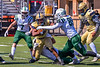 Fayetteville-Manlius Hornets tacklers Jacob Wing (15) and William Means (85) team up to stop West Genesee Wildcats Exavier Brumfield (7) in Section III Football action at Mike Messere Field in Camillus, New York on Saturday, April 3, 2021. West Genesee won in OT 38-32.