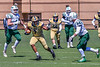 West Genesee Wildcats Exavier Brumfield (7) running with the ball against Fayetteville-Manlius Hornets Jacob Porzucek (34) in Section III Football action at Mike Messere Field in Camillus, New York on Saturday, April 3, 2021. West Genesee won in OT 38-32.