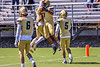 West Genesee Wildcats Exavier Brumfield (7) celebrates his touchdown against the Fayetteville-Manlius Hornets in Section III Football action at Mike Messere Field in Camillus, New York on Saturday, April 3, 2021. West Genesee won in OT 38-32.