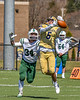 West Genesee Wildcats Nicholas Louise (5) is unable to pull in a pass against the Fayetteville-Manlius Hornets in Section III Football action at Mike Messere Field in Camillus, New York on Saturday, April 3, 2021. West Genesee won in OT 38-32.