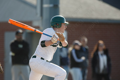 Maloney's Joseph Golebiewski gets on base with a single Thursday at Ceppa Field in Meriden April 26, 2018 | Justin Weekes / Special to the Record-Journal