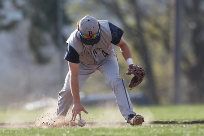 Platt's Jake-L'Heureux Baker gathers up a hit Wednesday at Ceppa Field in Meriden May 2, 2018 | Justin Weekes / Special to the Record-Journal
