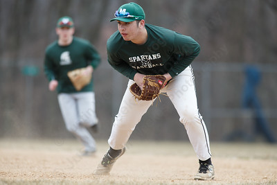Maloney's Owen Papciak corrals a ground ball at first base Wednesday during a pre-season scrimmage at Pat Wall Field in Wallingford March 28, 2018 | Justin Weekes / Special to the Record-Journal