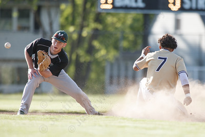 Platt's Ethan Dudley takes second base Monday at Ceppa Field in Meriden May 21, 2018 | Justin Weekes / Special to the Record-Journal