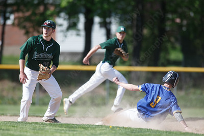 Wilcox Tech's Tanner Rhodes beats the throw to second Tuesday at Maloney High School in Meriden May 8, 2018 | Justin Weekes / Special to the Record-Journal