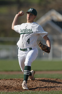Maloney's Justin Kolesar delivers a pitch Thursday at Ceppa Field in Meriden April 26, 2018 | Justin Weekes / Special to the Record-Journal