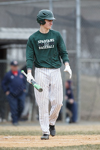 Maloney's Elliot Good steps up to bat Wednesday during a pre-season scrimmage at Pat Wall Field in Wallingford March 28, 2018 | Justin Weekes / Special to the Record-Journal