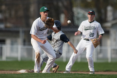 Platt's Peyton Thiel beat the throw to second Wednesday at Ceppa Field in Meriden May 2, 2018 | Justin Weekes / Special to the Record-Journal