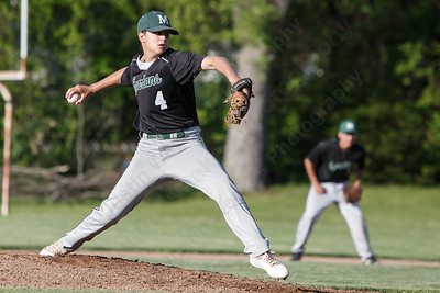 Maloney's Justin Kolesar delivers a pitch Monday at Ceppa Field in Meriden May 21, 2018 | Justin Weekes / Special to the Record-Journal