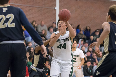 Maloney's Anthony Forbes gets fouled in the lane Friday at Maloney High School in Meriden January 19, 2018 | Justin Weekes / Special to the Record-Journal
