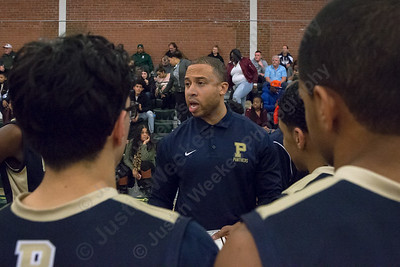 Platt's head coach Shawon Moncrief talks with players at the break Friday at Maloney High School in Meriden January 19, 2018 | Justin Weekes / Special to the Record-Journal
