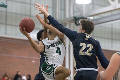 Maloney's Damien Pantoja drives to the basket Friday at Maloney High School in Meriden January 19, 2018 | Justin Weekes / Special to the Record-Journal