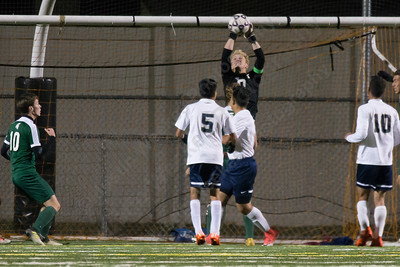 Platt's goalie Cameron Germe plays a corner kick Monday at Falcon Field in Meriden October 30, 2017 | Justin Weekes / For the Record-Journal