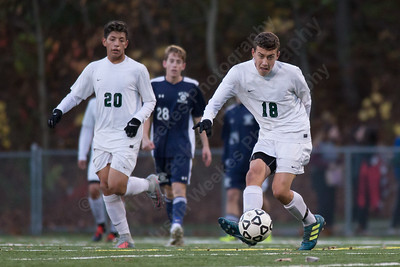 Maloney's Noah Lopez find open space Wednesday during the quarter final round of the CIAC Class L tournament at Falcon Field in Meriden  November 8, 2017 | Justin Weekes / For the Record-Journal