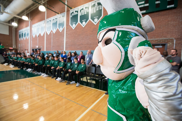 The Spartan cheers on the team Friday during a pep rally for the soccer team reaching the state finals at Maloney High School in Meriden November 16, 2018 | Justin Weekes / Special to the Record-Journal