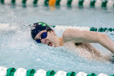 Maloney's Tyler Prescott set a record in the 200 freestyle with a time of 148.02 during a meet with Berlin Thursday at Maloney High School in Meriden   February,20 2014 | Justin Weekes / For the Record-Journal