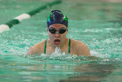 Meriden's Kelly Tran swims the breast stroke in the 200 medley relay Tuesday at Maloney High School pool in Meriden October 24, 2017 | Justin Weekes / For the Record-Journal