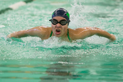 Meriden's Katherine Aceves in the 200 IM Tuesday at Maloney High School pool in Meriden October 24, 2017 | Justin Weekes / For the Record-Journal