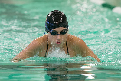 Meriden's Rachel Kerrigan swims the breats stroke in the 200 medley relay Tuesday at Maloney High School pool in Meriden October 24, 2017 | Justin Weekes / For the Record-Journal