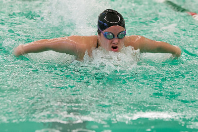 Sheehan's Carly Conchado in the 200 IM Tuesday at Maloney High School pool in Meriden October 24, 2017 | Justin Weekes / For the Record-Journal