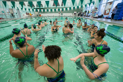 Meriden coop girls swimming gets ready to take on Sheehan Tuesday at Maloney High School pool in Meriden October 24, 2017 | Justin Weekes / For the Record-Journal