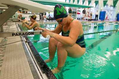 Meriden's Olivia Murphy gets set for the 200 medley relay Tuesday at Maloney High School pool in Meriden October 24, 2017 | Justin Weekes / For the Record-Journal
