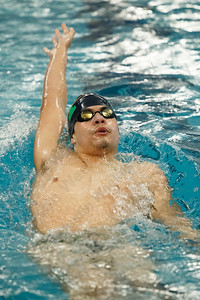 Meriden co-op's Julio G Hernandez swims back stroke in the 200 individual medley finishing first with a time of 2:16.41 Tuesday at the Platt High School Natatorium in Meriden February 6, 2018 | Justin Weekes / Special to the Record-Journal