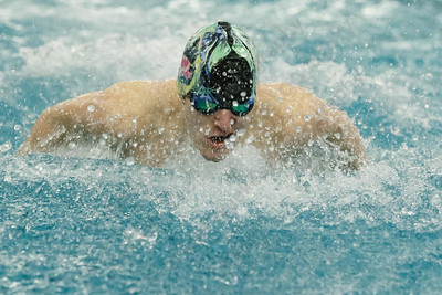 Meriden co-op's Hunter Bernabucci swims the butterfly in the 200 medley relay Tuesday at the Platt High School Natatorium in Meriden February 6, 2018 | Justin Weekes / Special to the Record-Journal