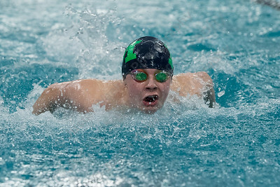 Meriden's Hunter Bernabucci in the 200 medley relay Tuesday at Platt High School in Meriden January 16, 2018 | Justin Weekes / Special to the Record-Journal
