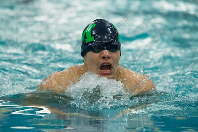 Meriden's Julio G Hernandez swims the breast stroke in the 200 medley relay Tuesday at Platt High School in Meriden January 16, 2018 | Justin Weekes / Special to the Record-Journal