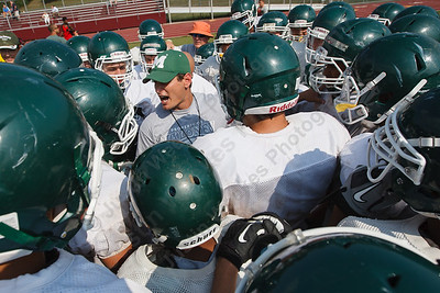 Maloney's head coach Kevin Frederick  August,27 2014 | Justin Weekes / For the Record-Journal