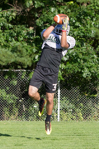 Maloney's Christopher Infante catches a pass during practice Wednesday at Maloney High School in Meriden  Aug. 23, 2017 | Justin Weekes / For the Record-Journal