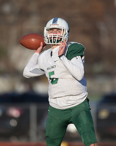 Maloney's Elliot Good looks for Victor Marquez Saturday during the CIAC Class L final at Veterans Stadium in New Britain  December 8, 2018 | Justin Weekes / Special to the Record-Journal