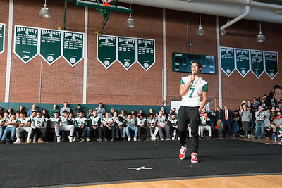 Maloney's Jaylon Nixon speaks about his teammates Friday during a pep rally for the Maloney football team at Maloney High School in Meriden December 7, 2018   Justin Weekes / Special to the Record-Journal