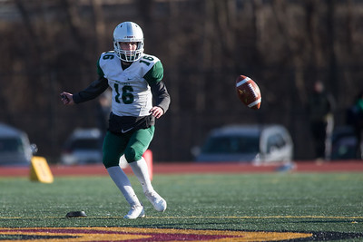 Maloney's Kameron Hartenstein watches his onside kick Saturday during the CIAC Class L final at Veterans Stadium in New Britain  December 8, 2018   Justin Weekes / Special to the Record-Journal