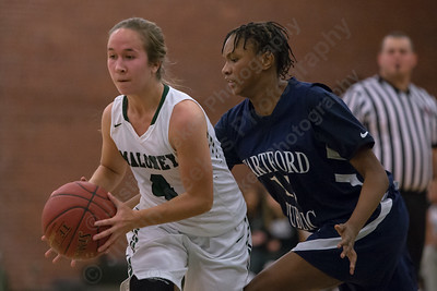 Maloney's Olivia Aitken gets past a defender Monday during the season opener at Maloney High School in Meriden December 11, 2017   Justin Weekes / For the Record-Journal