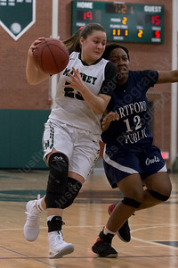 Maloney's Melanie Polanco drives on Hartford Public's Inaeja Williams Monday during the season opener at Maloney High School in Meriden December 11, 2017 | Justin Weekes / For the Record-Journal