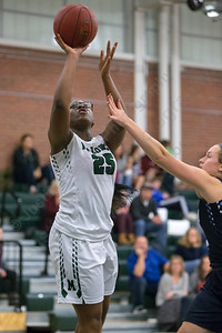 Maloney's Courtney Ubaike puts in a layup Friday at Maloney High School in Meriden January 12, 2018 | Justin Weekes / Special to the Record-Journal