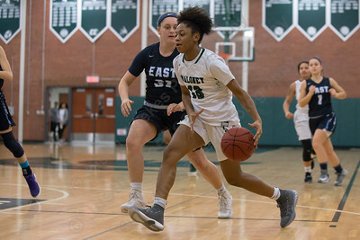 Maloney's Ivori-Gem Johnson drives to the net Friday at Maloney High School in Meriden January 12, 2018 | Justin Weekes / Special to the Record-Journal