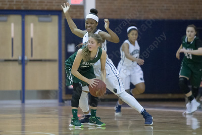 Maloney's Alexa Papallo looks for support Thursday at Platt High School in Meriden January 18, 2018 | Justin Weekes / Special to the Record-Journal